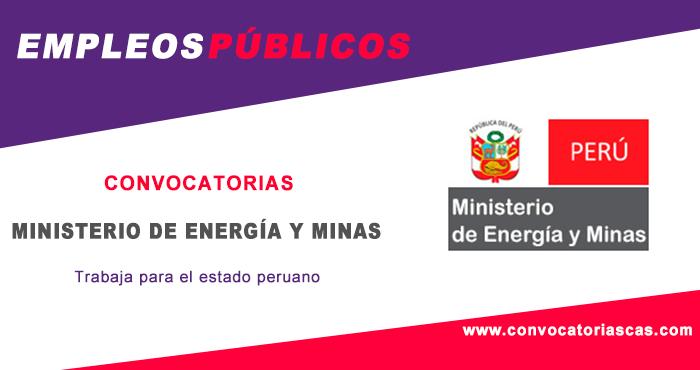 Convocatoria ministerio de energ a y minas cas 4 plazas for Ministerio de minas